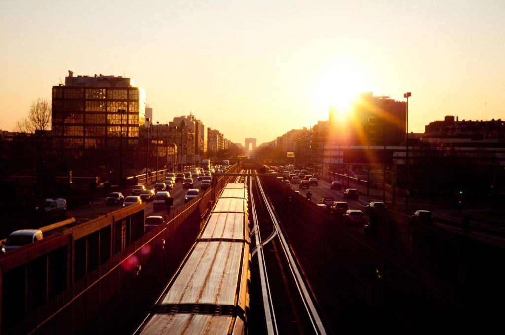 busy city and the sunset