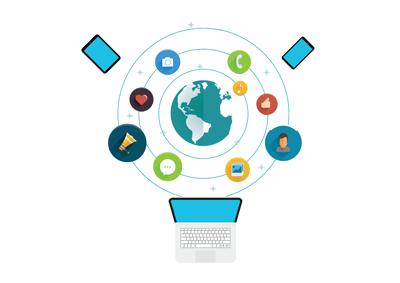 Laptop and Social Media illustration