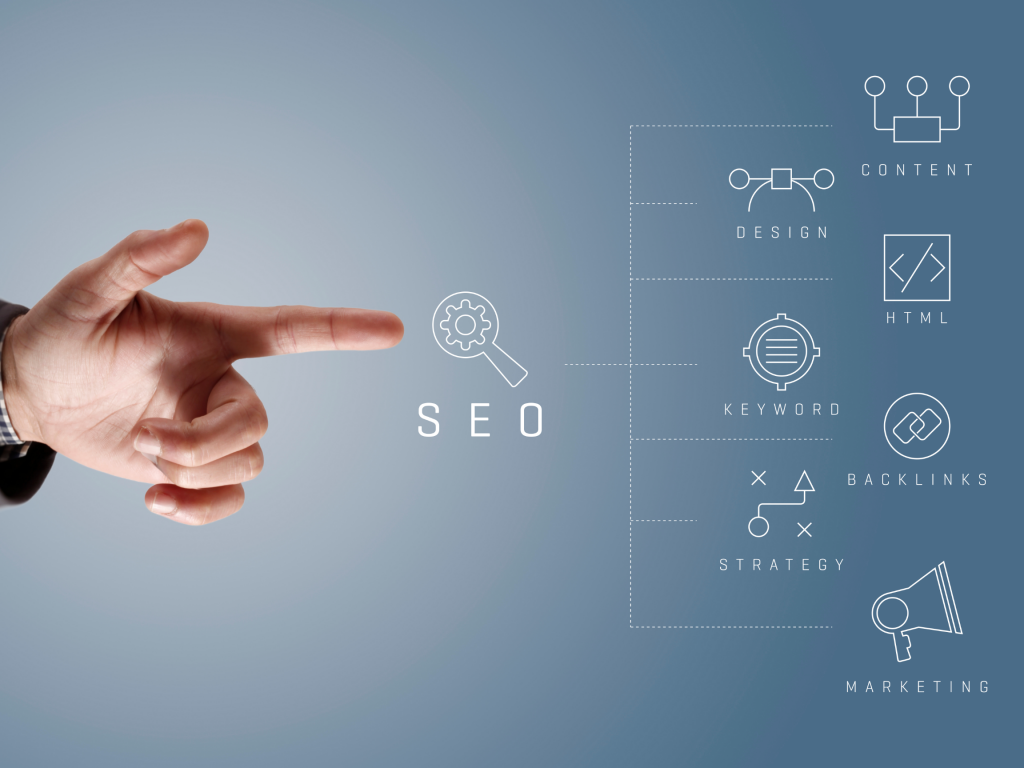 Finger pointed towards the SEO components
